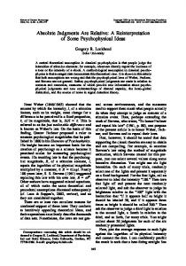 Absolute Judgments Are Relative: A ... - Semantic Scholar