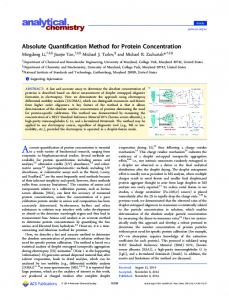 Absolute Quantification Method for Protein Concentration - American ...