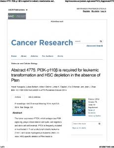 Abstract 4775: PI3K-p110\337 is required for leukemic ...