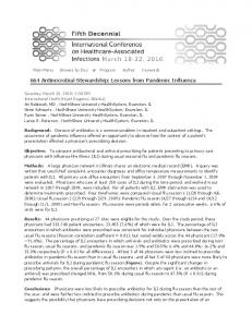 Abstract: Antimicrobial Stewardship: Lessons from