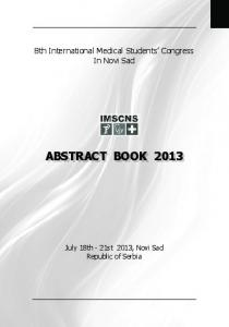 abstract book 2013 - imscns