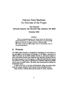 Abstract State Machines: An Overview of the Project - Microsoft