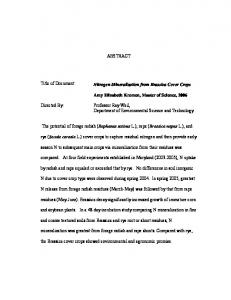 ABSTRACT Title of Document: Nitrogen ... - Semantic Scholar