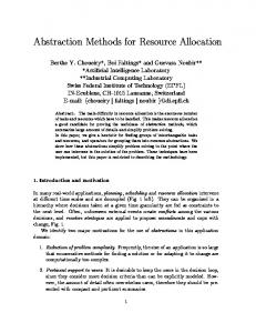 Abstraction Methods for Resource Allocation - Semantic Scholar