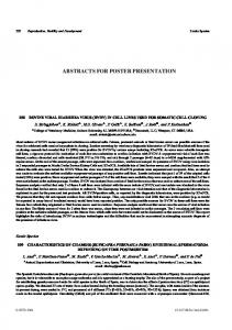 ABSTRACTS FOR POSTER PRESENTATION