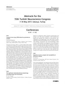Abstracts for the 15th Turkish Neuroscience Congress Conferences