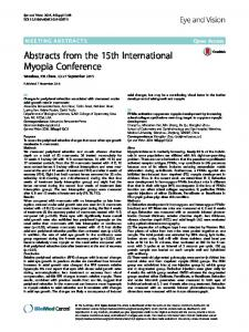Abstracts from the 15th International Myopia