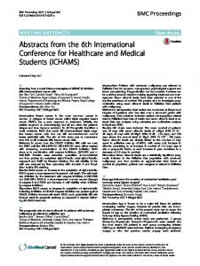 Abstracts from the 6th International Conference for