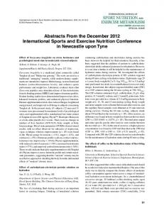 Abstracts From the December 2012 ... - Human Kinetics Journals