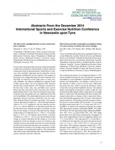 Abstracts From the December 2014 International Sports and Exercise