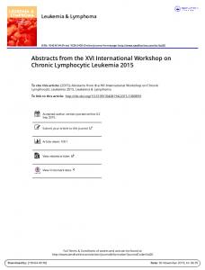 Abstracts from the XVI International Workshop on ...