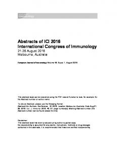 Abstracts of ICI 2016 International Congress of