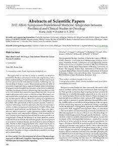 Abstracts of Scientific Papers