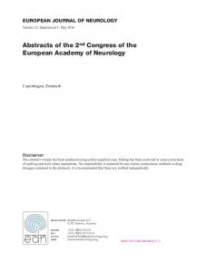 Abstracts of the 2nd Congress of the European ...