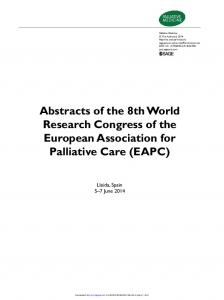 Abstracts of the 8th World Research Congress of the ...