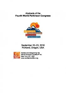 Abstracts of the Fourth World Parkinson Congress ...