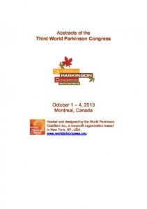 Abstracts of the Third World Parkinson Congress ...