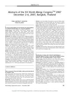 Abstracts of the XX World Allergy Congress 2007 ...