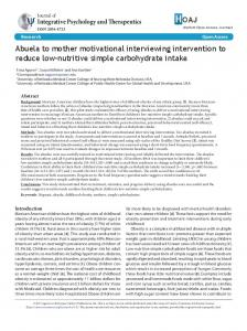 Abuela to mother motivational interviewing intervention to reduce low ...