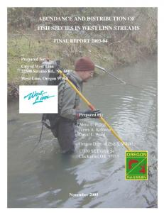 abundance and distribution of fish species in west linn streams