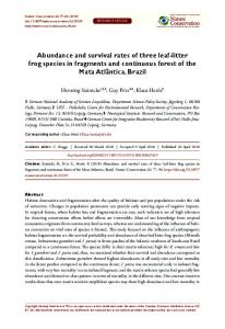 Abundance and survival rates of three leaf-litter frog species in ...