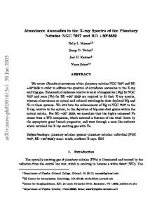 Abundance Anomalies in the X-ray Spectra of the Planetary Nebulae ...