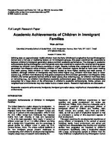 Academic Achievements of Children in Immigrant Families