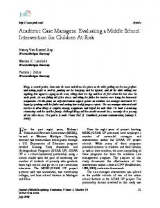 Academic Case Managers: Evaluating a Middle School Intervention ...