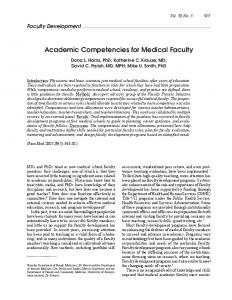 Academic Competencies for Medical Faculty