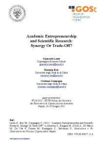 Academic Entrepreneurship and Scientific Research