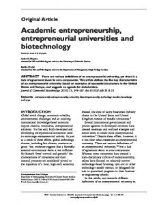 Academic entrepreneurship, entrepreneurial universities and ...