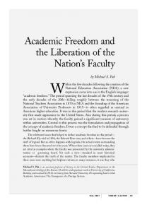 Academic Freedom and the Liberation of the Nation's Faculty - NEA