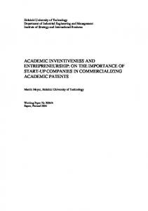 Academic Inventiveness and Entrepreneurship