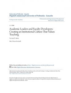 Academic Leaders and Faculty Developers - DigitalCommons ...