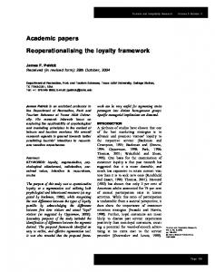 Academic papers Reoperationalising the loyalty framework - CiteSeerX