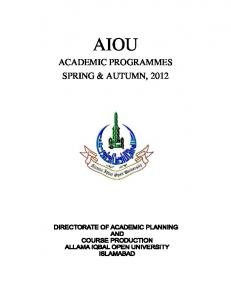 ACADEMIC PROGRAMMES SPRING ... - AIOU Old Papers