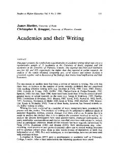 Academics and their Writing