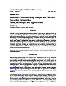 Academics Telecommuting in Open and Distance Education ...
