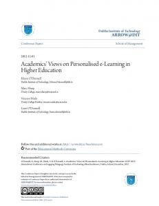 Academics' Views on Personalised e-Learning in Higher ... - Arrow@DIT
