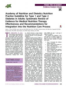 Academy of Nutrition and Dietetics Nutrition Practice Guideline for ...