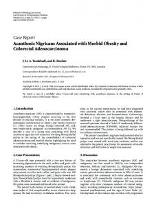 Acanthosis Nigricans Associated with Morbid Obesity and Colorectal ...