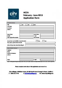 ACCA February - June 2013 Application Form - City Colleges City ...