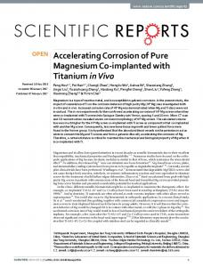 Accelerating Corrosion of Pure Magnesium Co