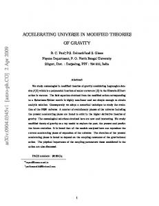 Accelerating Universe in Modified Theories of Gravity