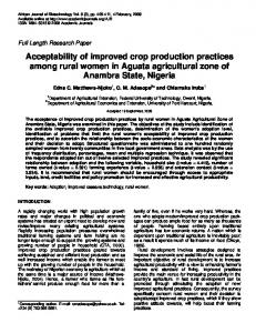 Acceptability of improved crop production ... - Academic Journals