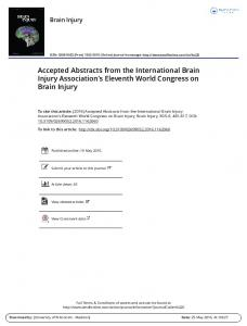 Accepted Abstracts from the International Brain Injury ...