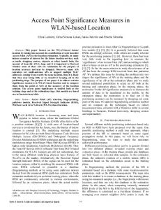 Access Point Significance Measures in WLAN-based ... - IEEE Xplore