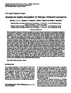Access to basic education in Kenya: inherent ... - Academic Journals