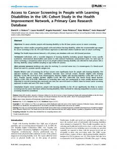 Access to Cancer Screening in People with Learning ... - UCL Discovery