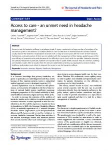 Access to care - an unmet need in headache ... - BioMedSearch